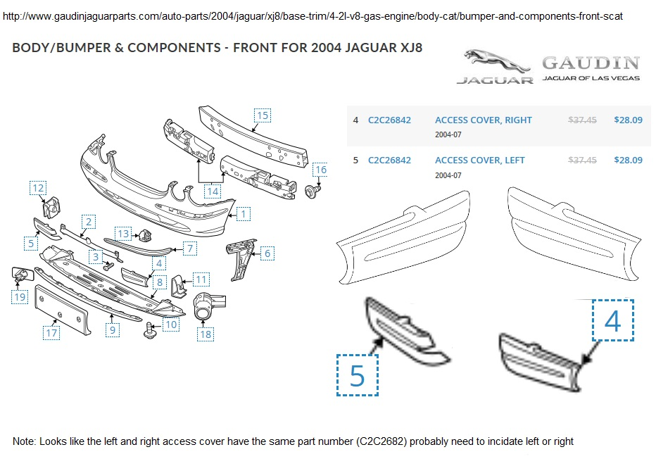 2004 Jaguar Xj8 Parts Diagram Bumper Cover. Jaguar. Auto