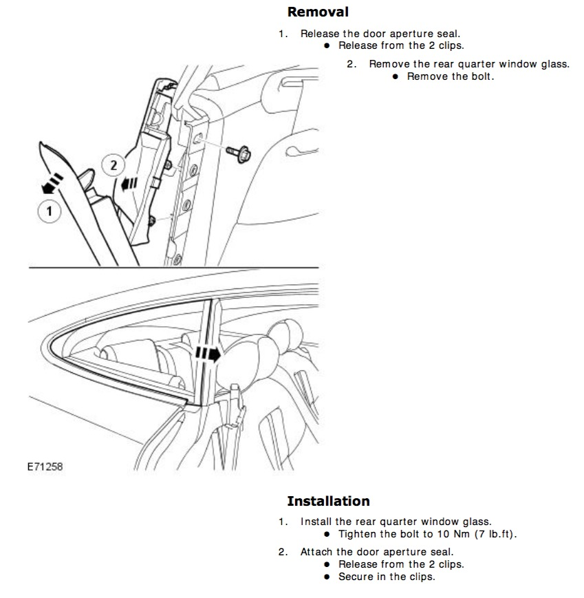 Service manual [Remove The Back Quarter Panel Of A 2012
