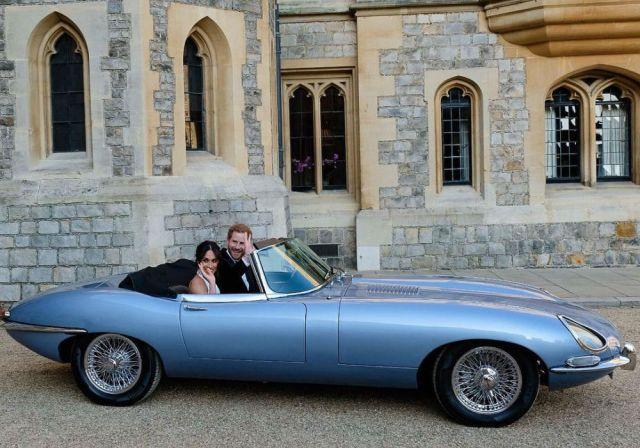 Duke and Duchess of Sussex in Jaguar E-Type Zero
