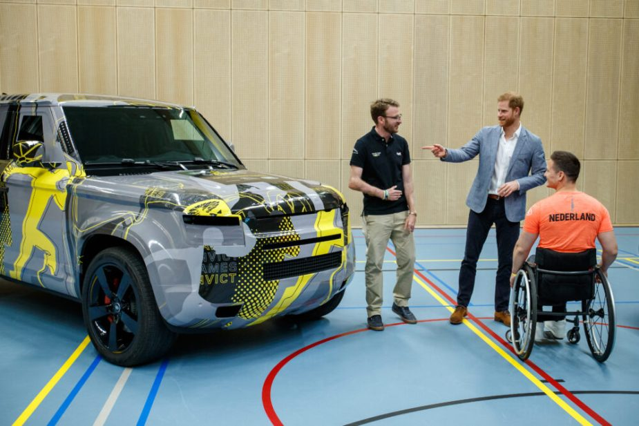 Harry, Duke of Sussex with Invictus Games 2020 Land Rover