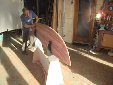Jim Banks perfecting the shape into a 9ft Gun