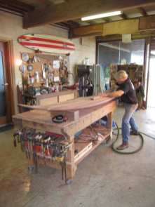 Gary Bennett using his woodworking skills