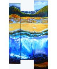 Astrid-Dahl One Day in Spring triptych 90cm x 170cm