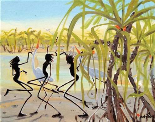 Judy-Prosser-Fishing-at-Pandanus-acrylic-painting
