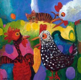 Helen-Norton-Cat-In-Chook-House-painting