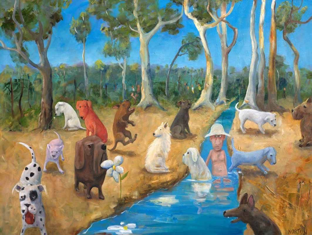 Helen Norton The Dogs Picnic Painting 1