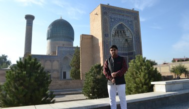 Outside Gur-e-Amir, the tomb of Amir Timur