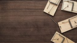 mousetraps on the wooden background