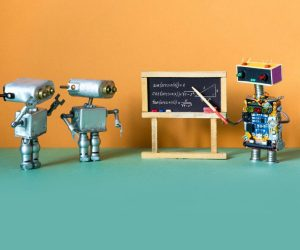 Artificial intelligence machine learning and robotics education concept