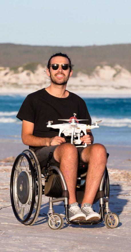 Good Weekend. Western Australia. Esperance. Jaimen Hudson from Esperance, WA who shot some amazing drone footage that went viral around the world. He is a quadriplegic from a motor bike acciddent. Photograph by Edwina Pickles. Taken on 26th Feb 2016.