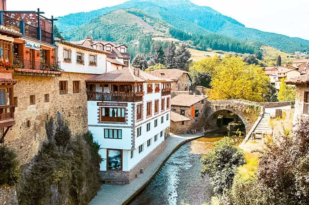 The cliffside village of Potes in Visit Cantabria