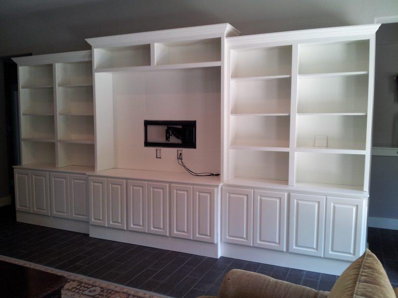 Jaimes Custom Cabinets  White Entertainment Center Built In