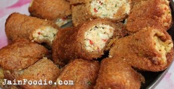 Jain Paneer Bread Roll