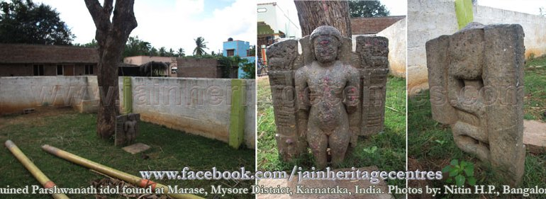 Ruined Parshwanath idol found at Marase, Mysore District, Karnataka, India. Photos by: Nitin H.P., Bangalore