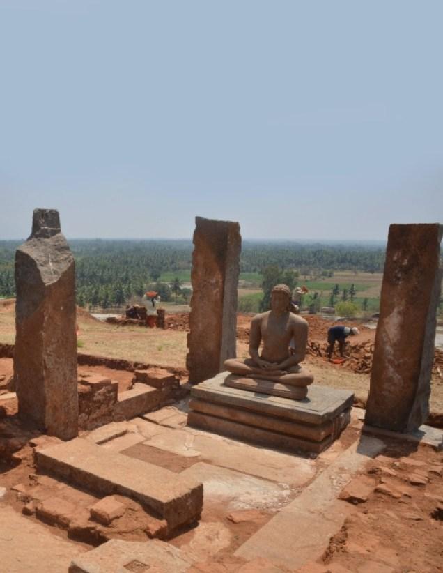 The sculpture of a seated Rishabhanatha, the first Jaina tirthankara, in a basadi (Jaina temple) found on the eastern end of the Kanakagiri hillock. Photo:K. BHAGYA PRAKASH