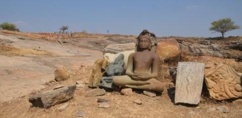 Parsvanatha, the 23rd tirthankara, seated under the hood of a snake. Beside this sculpture is one of Kubera. Photo:K. BHAGYA PRAKASH
