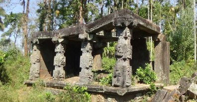 The temple ruins are located at Punchavayal, near Panamaram, in Kerala's Wayanad district.