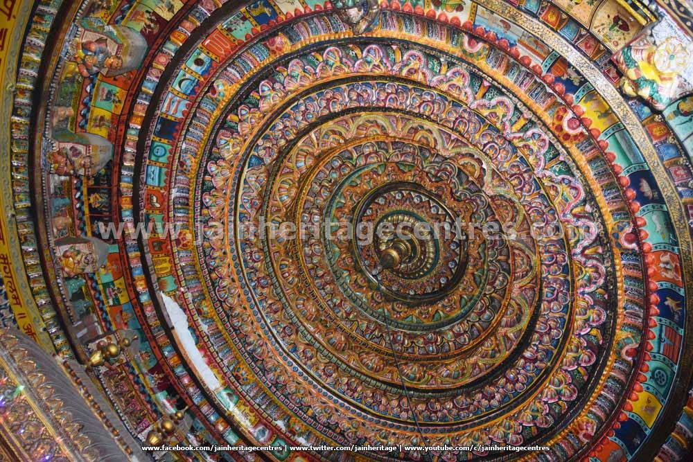 Ceiling work of the Adinath Digambar Jain Temple.