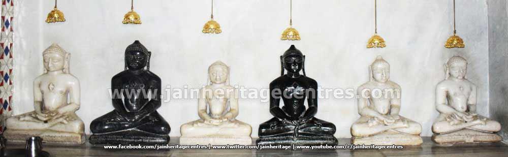 Tirthankar idols at Adinath Digambar Jain Temple.