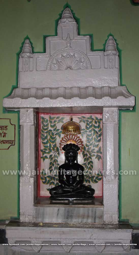 Tirthankar Parshwanath idol in Padmasana at Adinath Digambar Jain Temple.