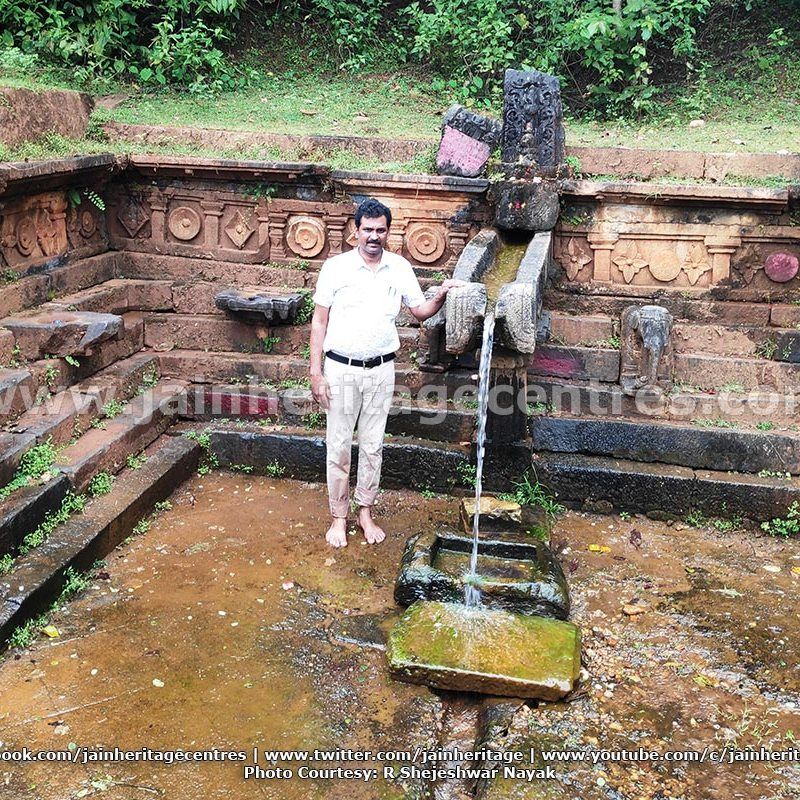 Mr. Shejeshwar Nayak at the Origin point of Kumudvati river where the inscriptions were found.