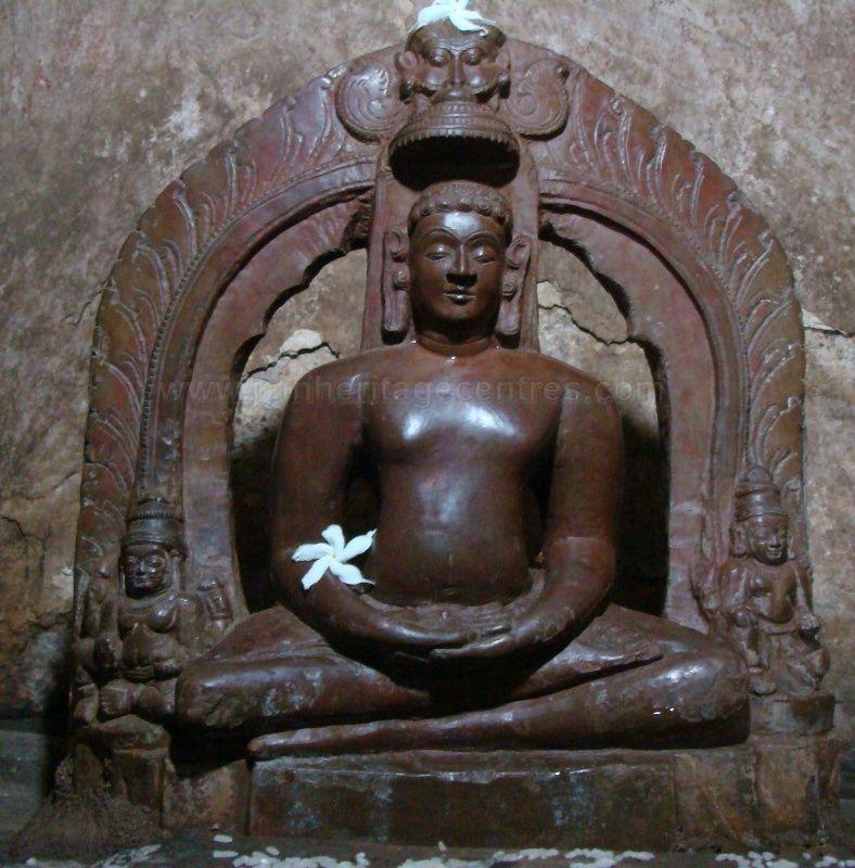 Ancient idol of Tirthankar Chandranath in Padmasana at the ancient Digamabar Jain temple, Idarguchi.