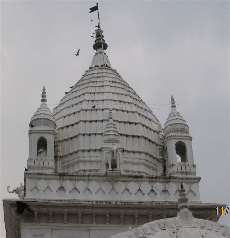 Pinnacle/Shikara of Parshwanath Jain temple at Pateriya.