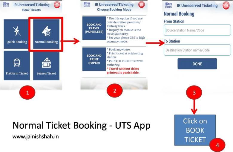 normal ticket booking uts app