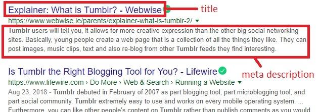 title and meta description tag