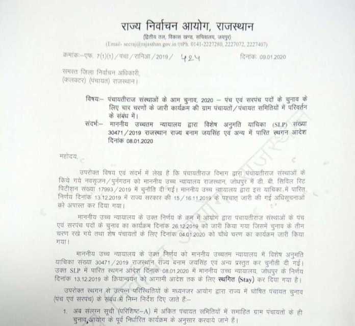 rajasthan panchayat chuanv supreme court stay order