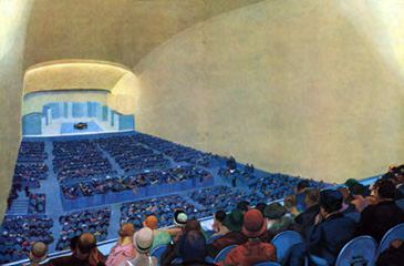 The Interior of the new Salle Pleyel, painted by André Devambez for L'Illustration in 1928