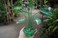 Flower ornament made from a Sprite bottle.