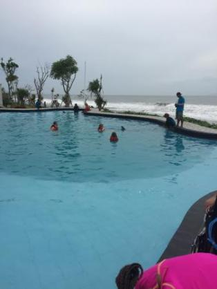 Another view of the pool .. You are able to see how close they are to the ocean and how small their pool is.