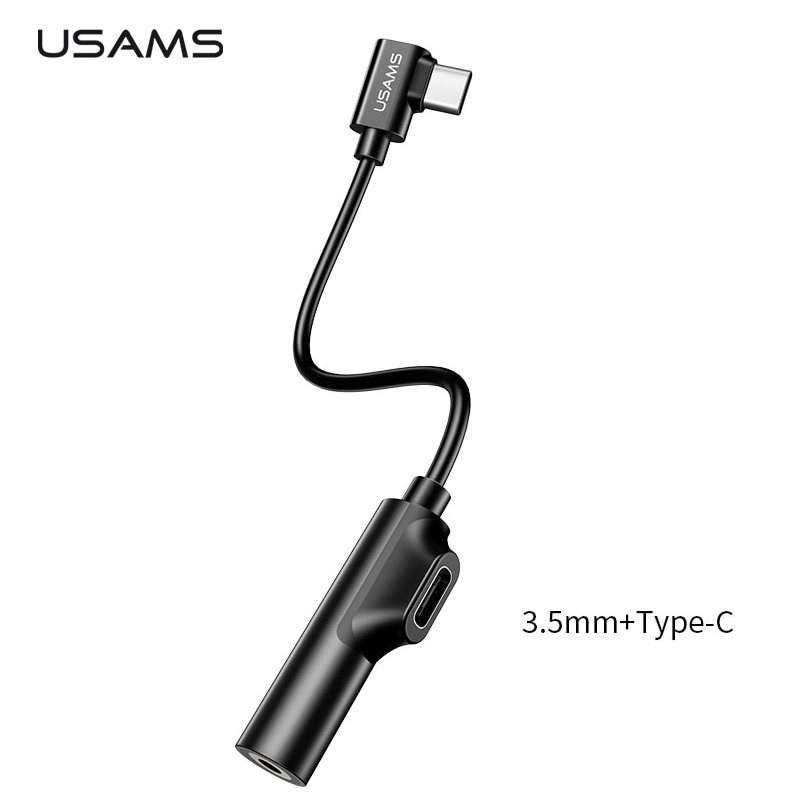 USAMS Adapter USB Type C to AUX 3.5mm Headphone + USB Type
