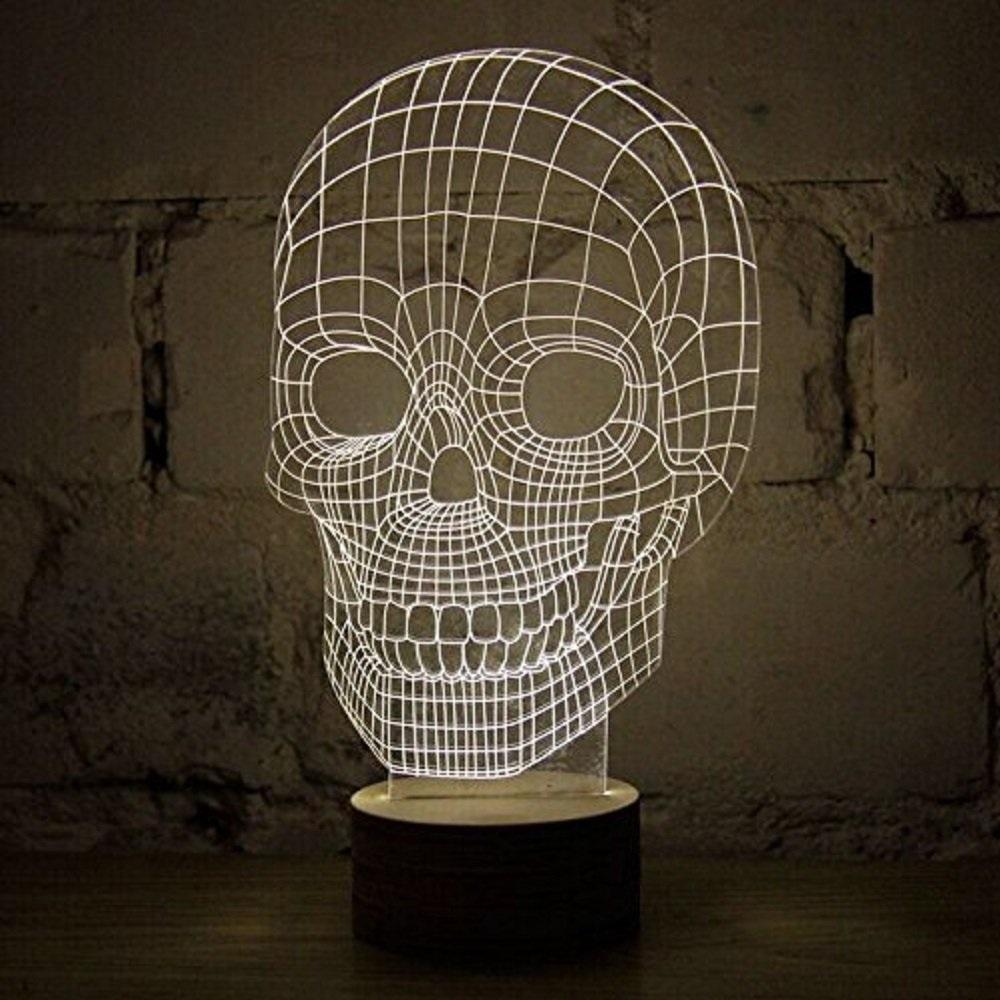 Portable 3D Illusion Skull Shape Night Lamp LED  Lampu 3D Desain Tengkorak  Yellow