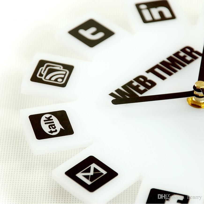 Web 20 Timer Wall Clock  Jam Dinding  White