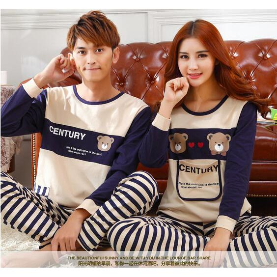 Piyama Couple Pria Model Beruang Garis  Size XXL  Cream  JakartaNotebookcom
