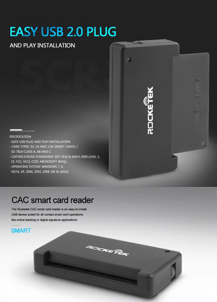 Rocketek Cac Smart Card Reader Dod Military Rt Scr3 Black Jakartanotebook Com