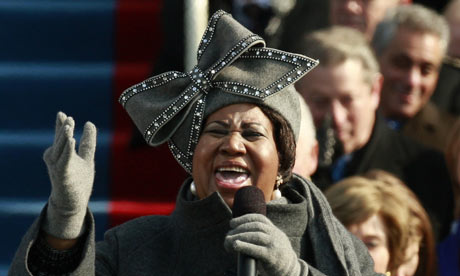 Arehta Franklin sings at President Obama's Inauguration