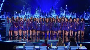 """After performing an emotional cover of Mariah Carey's """"Hero,"""" the American Military Spouses Choir took a spot in the AGT Season Eight Semi-Finals.  (Photo property of NBC, SYCO Entertainment & FremantleMedia North America)"""