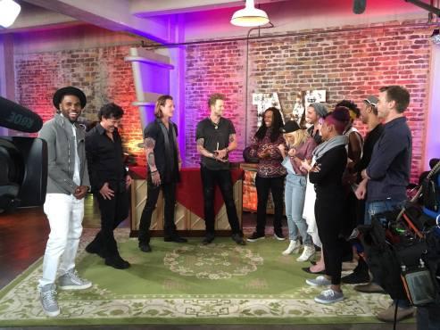 "The ""American Idol XIV"" Top Eight share laughs with chief ""Idol"" mentor Scott Borchetta and guest advisers Jason DeRulo & Florida Georgia Line. (Photo property of FOX, 19 Entertainment & FremantleMedia North America)"