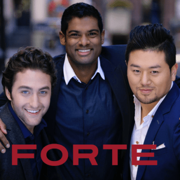 """The Forte Tenors' Josh Page (left) visited """"Jake's Take"""" and talked about the latest incarnation of the opera trio's Pledge Music campaign. (Photo property of the Forte Tenors)"""