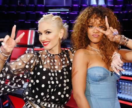 "Pop princess Rihanna poses with ""The Voice's"" Queen of Cool during a taping of the Season Nine Knockout Rounds. (Photo property of NBC & United Artists Media Group)"