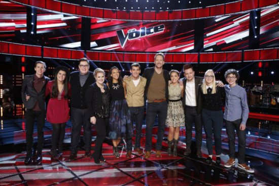"""The Top 11 pose for a group photo after a taping of """"The Voice."""" (Photo property of NBC's Trae Patton)"""