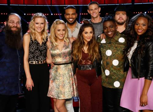 """The Voice: Season 10"" Top Nine pose together before finding out tonight's results. (Photo property of NBC)"