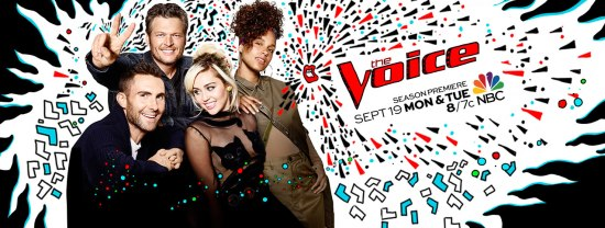 "Adam and Blake continued to welcome Miley Cyrus and Alicia Keys to ""The Voice"" family. (Poster and graphic property of NBC & MGM TV)"