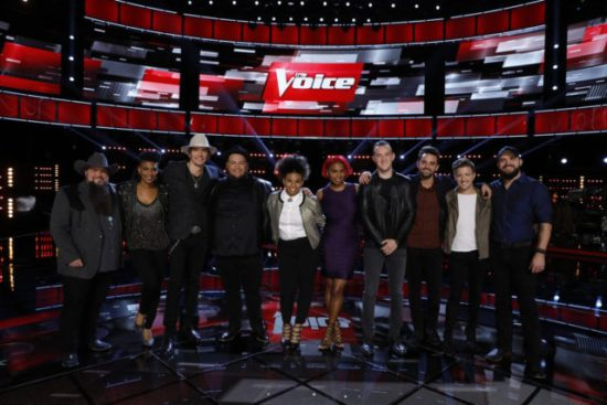 """""""The Voice: Season 11"""" Top 10 pose together after a taping of the show. (Photo property of NBC's Trae Patton)"""