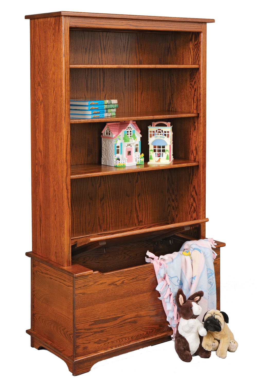Jakes Amish Furniture  3026 Bookcase with Toy Box