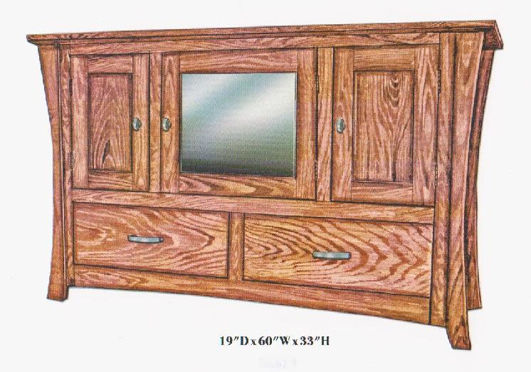 Jakes Amish Furniture 3009 Bowed 60 TV Stand