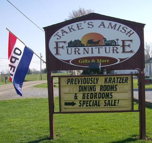 Jakes Amish Furniture Sign Open